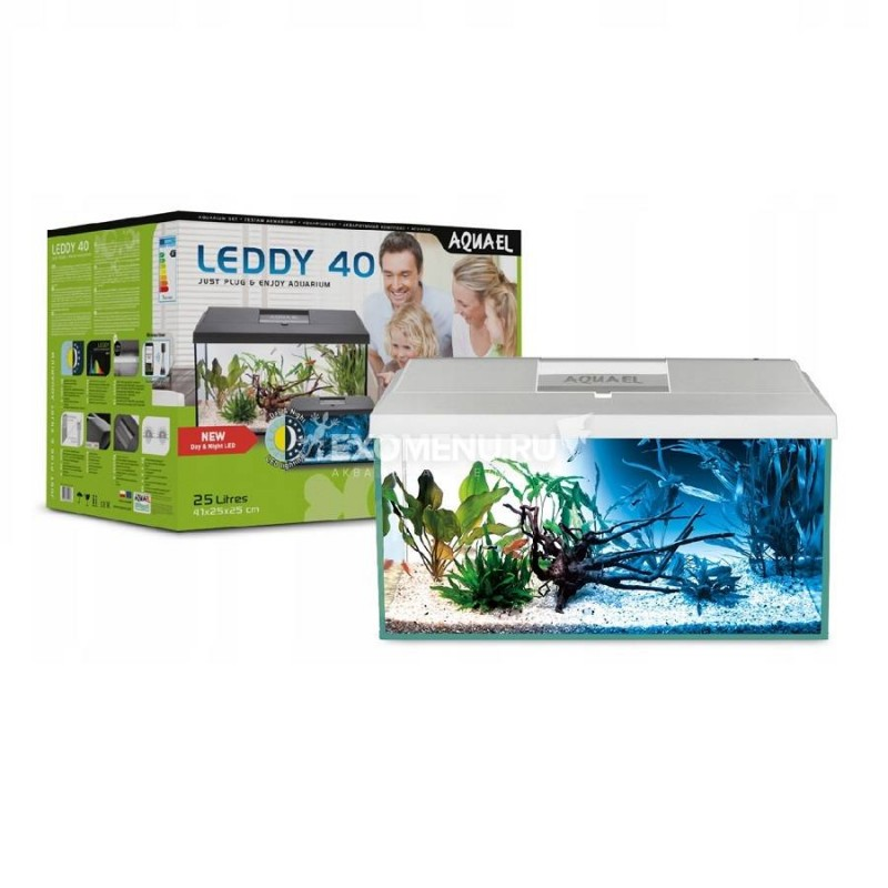 Аквариум AQUAEL LEDDY SET PLUS D&N 40 Белый (41 x 25 x 25) 25л, ASAP 300, PLATINIUM 25 W, LT 7W D&N